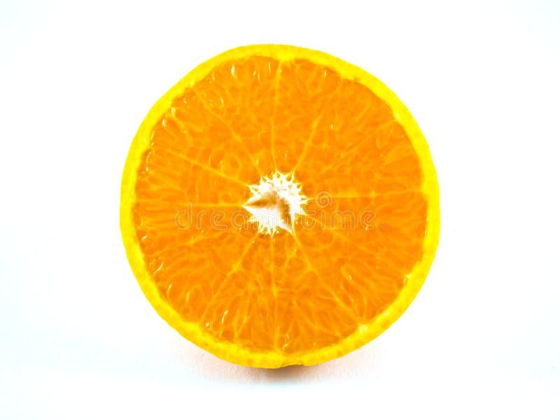 Scheibe der orange Frucht lokalisiert stockfotos