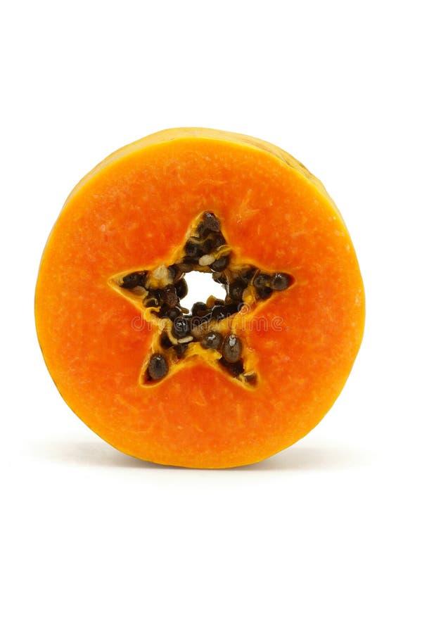 Scheibe der saftigen Papayafrucht lizenzfreie stockbilder