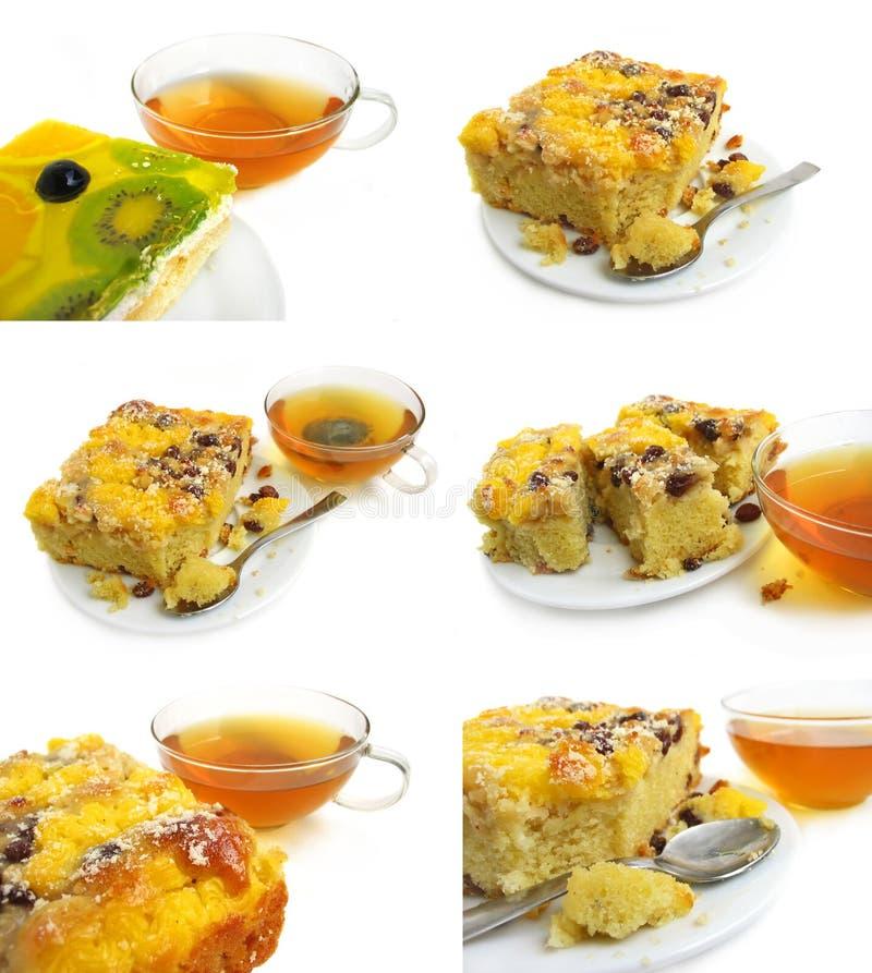 Scheibe der Torte mit Tee lizenzfreie stockfotografie