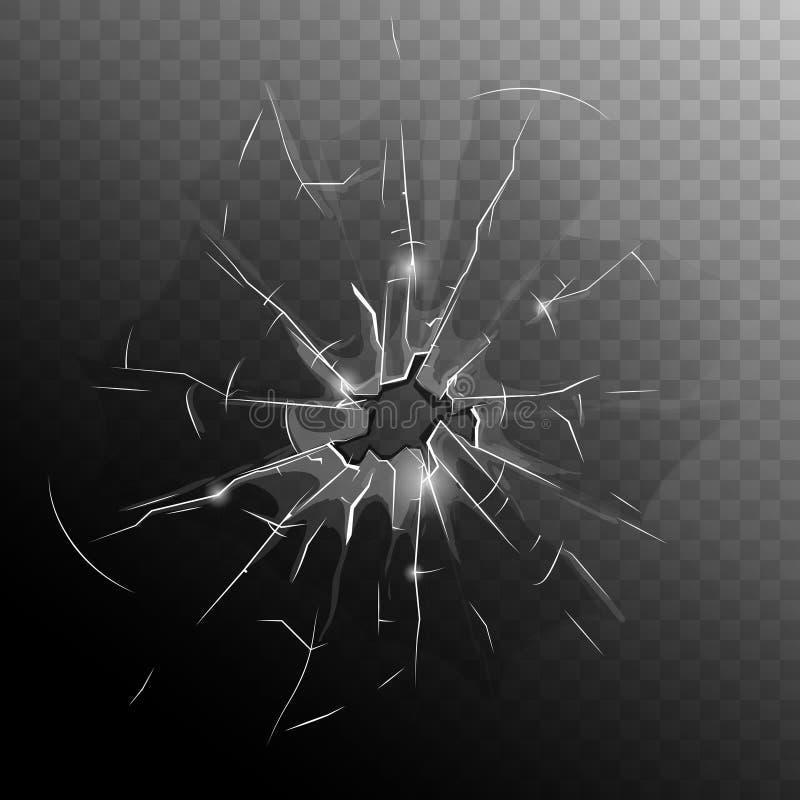 Scheibe der zerbrochenen Fensterscheibe vektor abbildung