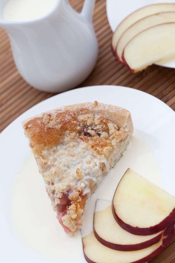 Scheibe des frisch gebackenen Rhabarberkrümels mit Apfel lizenzfreie stockfotos