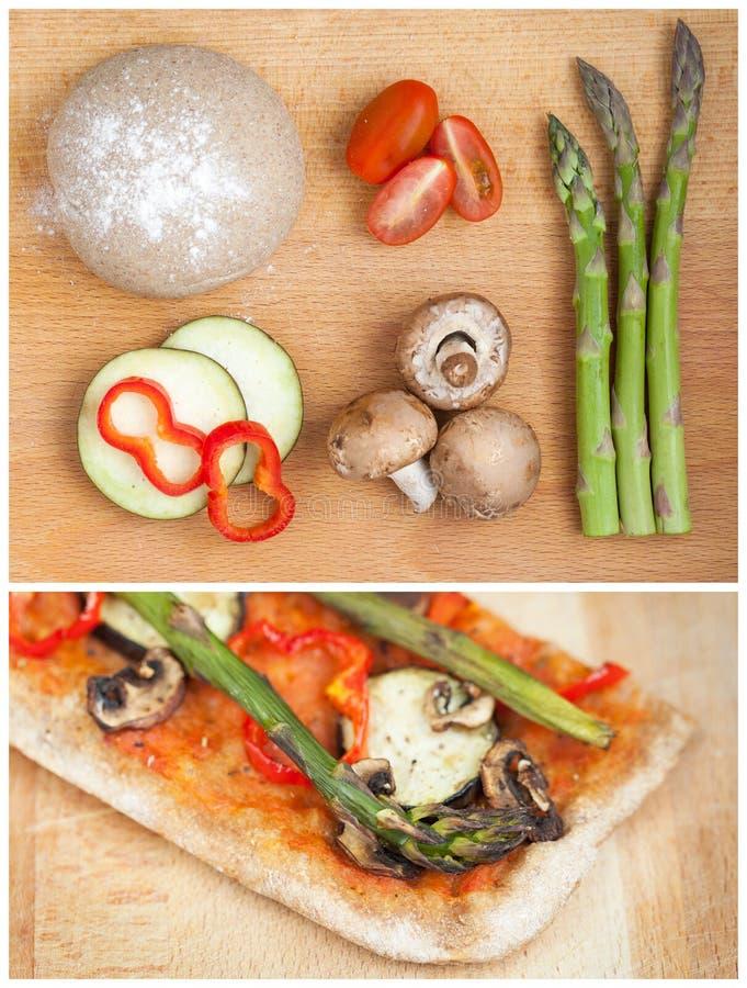 Scheibe des Hauses machte gesunde Pizza lizenzfreies stockbild