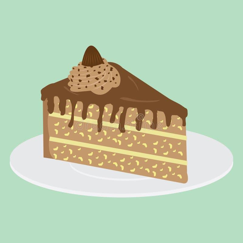 Scheibe des Kuchens auf Platte stock abbildung