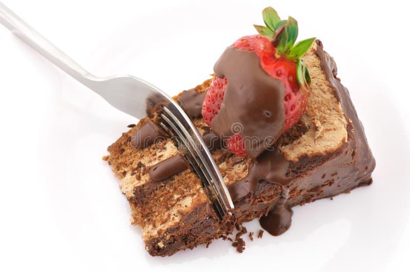 Scheibe des Schokoladenkuchens lizenzfreies stockfoto
