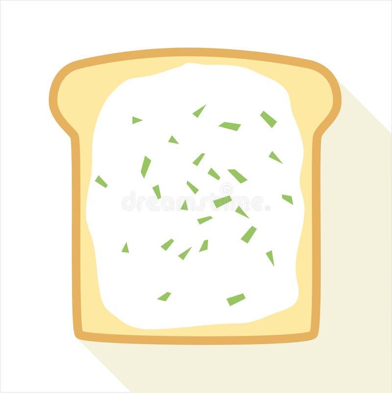 Scheibe des Toasts mit Butter und Schnittlauch lizenzfreie stockbilder