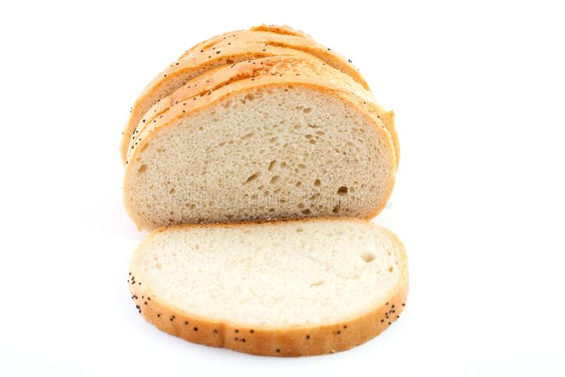Scheibe des weißen Brotes stockfoto
