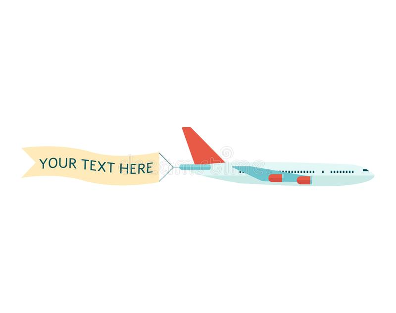 Scheibe mit der Werbungsfahne für flachen Vektor des Textes lokalisiert auf weißem Hintergrund lizenzfreie abbildung