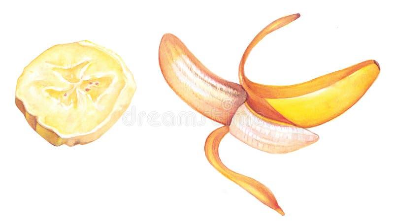 Scheibe und Banane lizenzfreie stockbilder