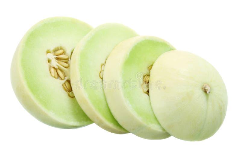 Scheiben der Blatthonig-Melone stockbilder