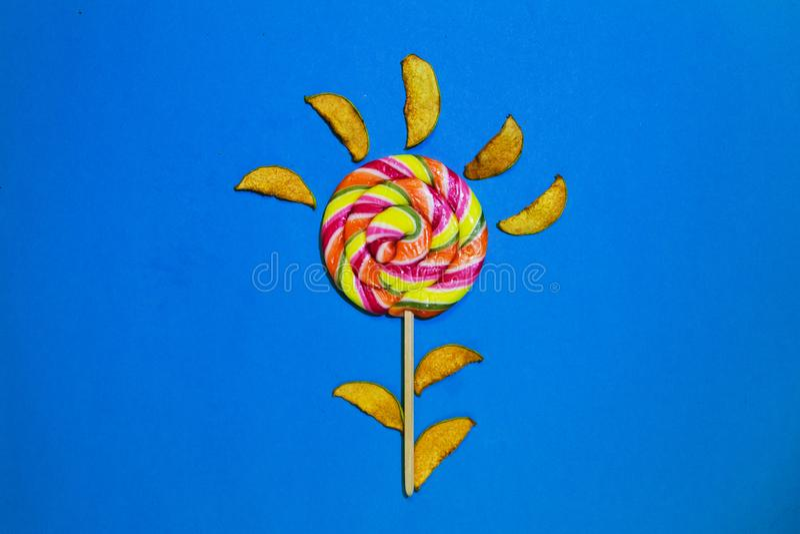 Scheiben der getrockneten Quitte und der großen hellen Süßigkeit, Spirale, Strudelform, gestreifte Farbe, lokalisiertes, flaches  stockfoto