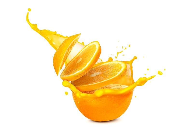 Scheiben der Orange im Spritzenabschluß oben, lokalisiert lizenzfreies stockfoto