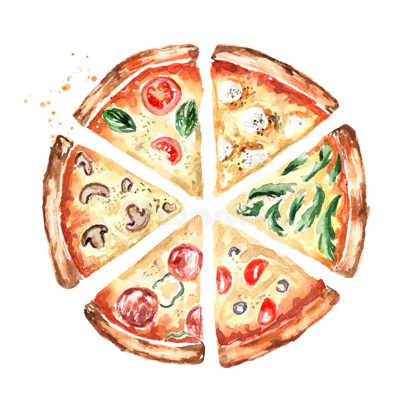 Scheiben der Pizza mit verschiedenen Belägen, Draufsicht Gezeichnete Illustration des Aquarells Hand, lokalisiert auf weißem Hint vektor abbildung