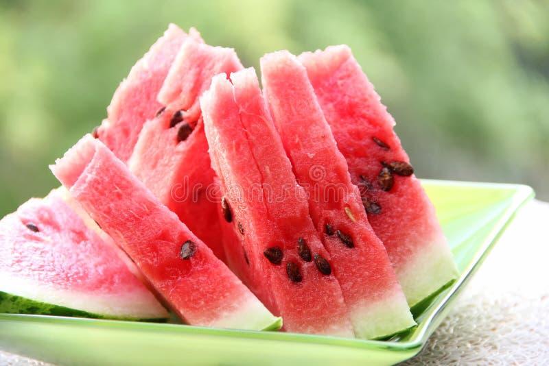 Scheiben der Wassermelone stockbild