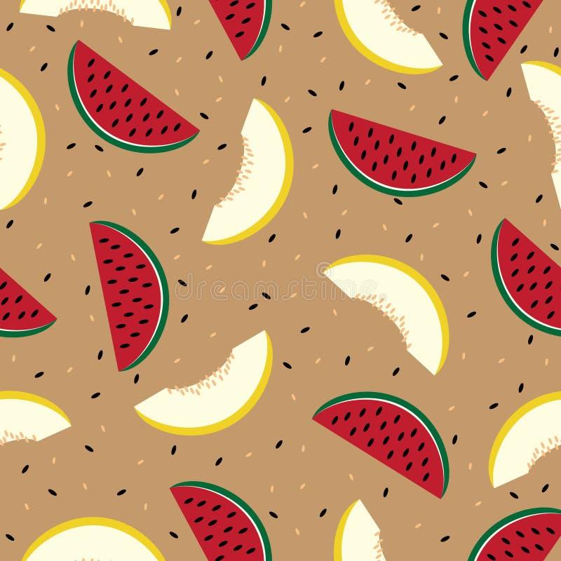 Scheiben der Wassermelone und der Kantalupe, nahtlos vektor abbildung
