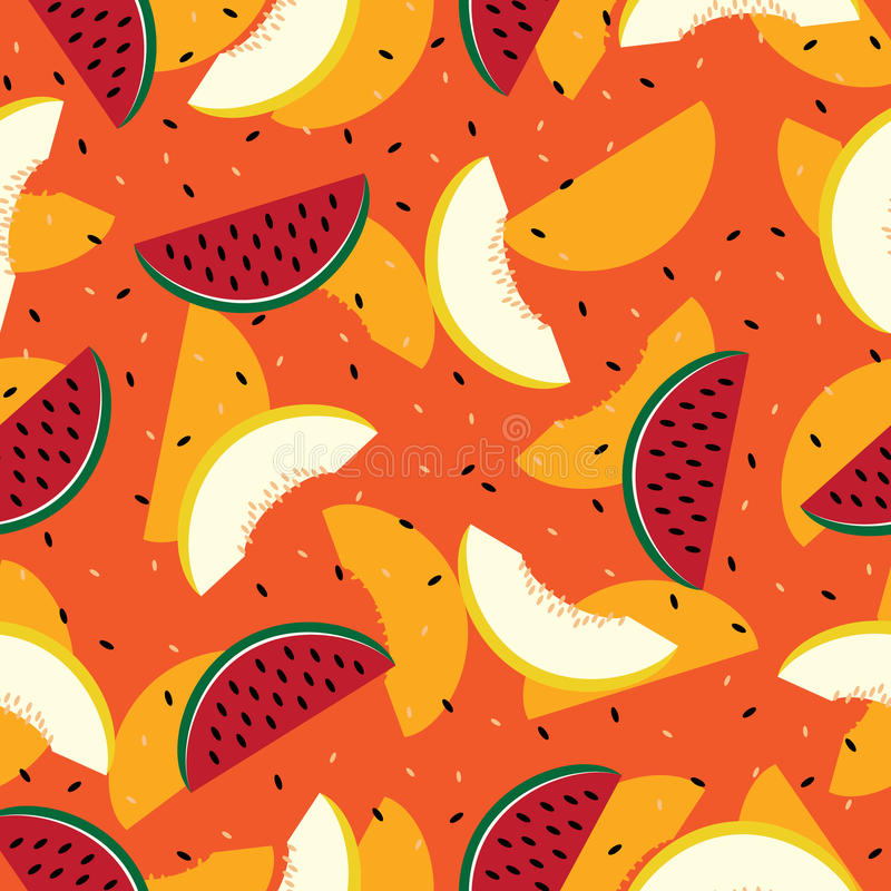 Scheiben der Wassermelone und der Kantalupe, nahtlos stock abbildung