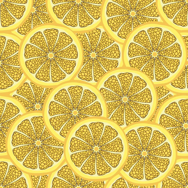Scheiben der Zitrone in einem Schnitt, nahtloses Muster, Fruchthintergrund Gemalte Zitrusfrucht, grafische Kunst, Karikatur Für d lizenzfreie abbildung