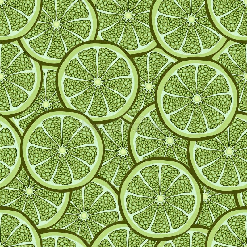 Scheiben des Kalkes in einem nahtlosen Muster des Schnittes, Fruchthintergrund Zeichnungszitrusfrucht, grafische Kunst, Karikatur lizenzfreie abbildung
