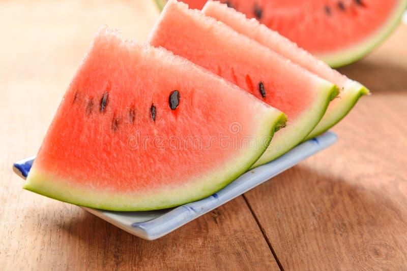 Scheiben des Wassermelonenabschlusses oben lizenzfreie stockfotografie