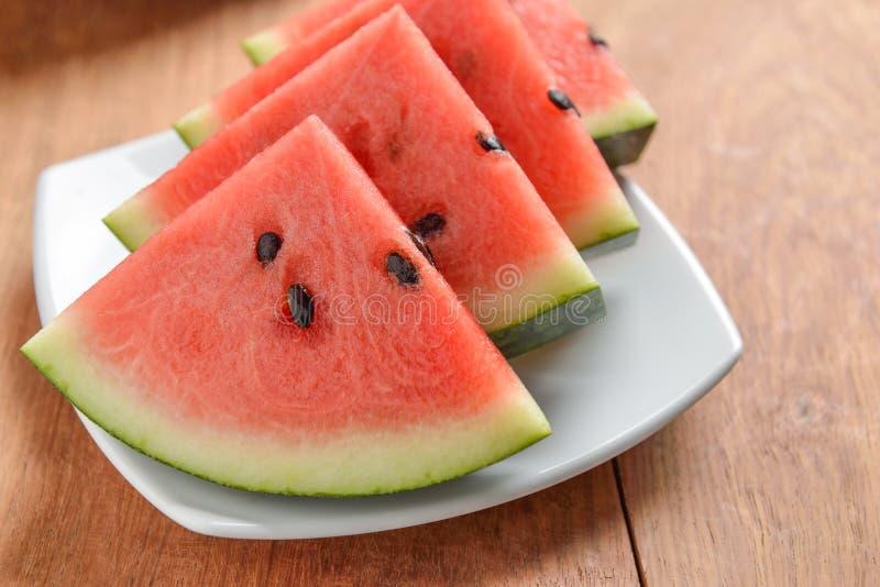 Scheiben des Wassermelonenabschlusses oben lizenzfreie stockfotos