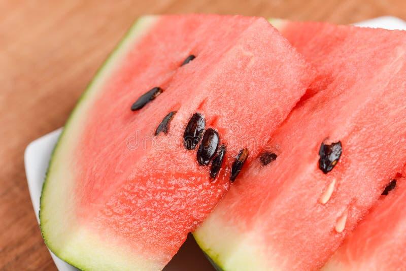 Scheiben des Wassermelonenabschlusses oben stockfotografie