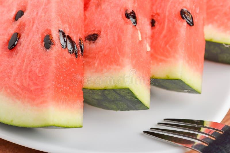 Scheiben des Wassermelonenabschlusses oben stockfoto