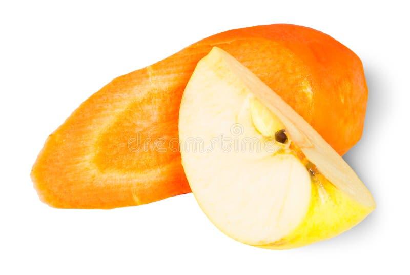 Scheiben Karotte und Apple lizenzfreies stockbild