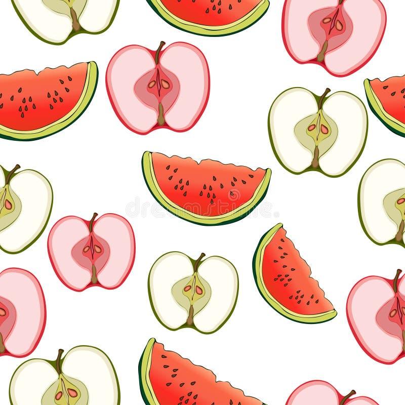 Scheiben von Äpfeln und von nahtlosem Muster der Wassermelone, Fruchthintergrund Auf ein Weiß zeichnen, Karikatur Für das Design lizenzfreie abbildung