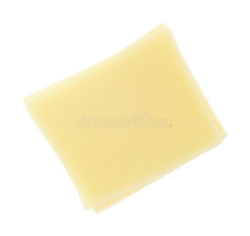 Scheiben von Provolonen auf weißem Hintergrund lizenzfreie stockfotos