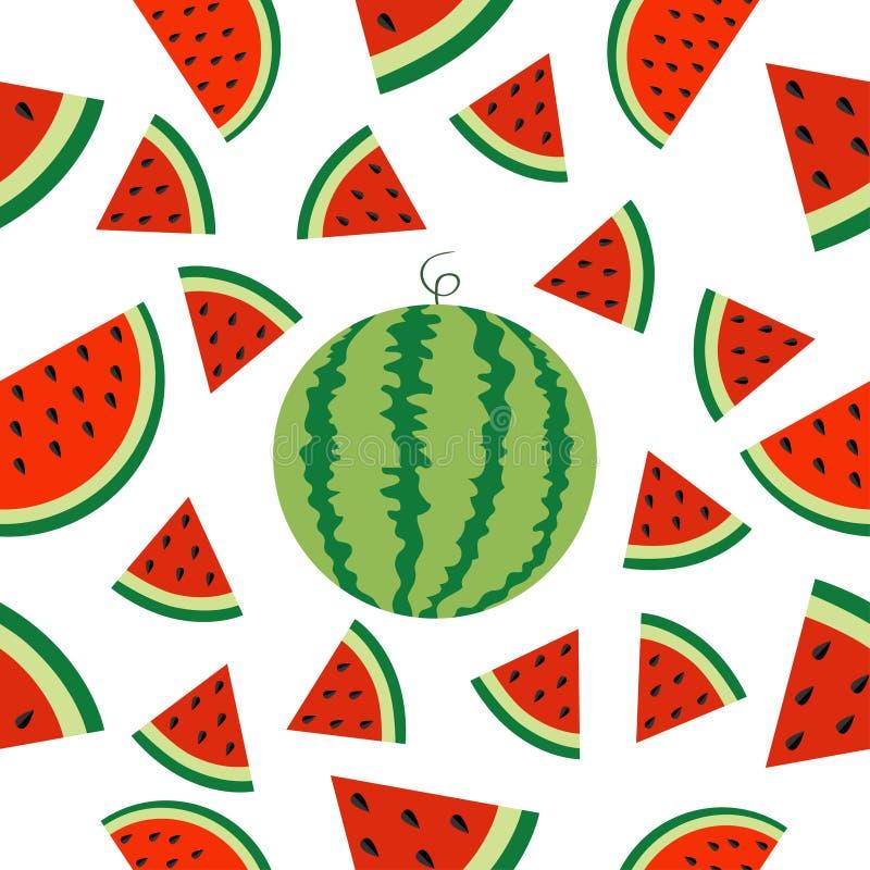 Scheibenikonen-Hälfteschnitt der Wassermelone ganzer reifer mit Samen Dreieck-Fruchtschnitt Hallo Sommer-nahtloser Muster-Weißhin vektor abbildung