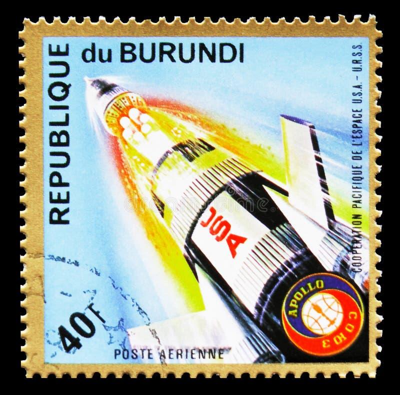 "Scheiding de in het derde stadium van Apollo, ""Apollo†""Soyuz† Ruimteprojec royalty-vrije stock foto"