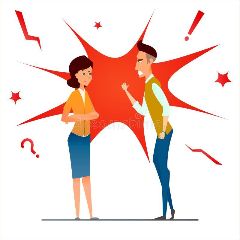 scheiding De strijd en debatteert Twee mensen maken ruzie Het conflict van de familie Verdeel verhouding Boze echtpaarman en vrou stock illustratie