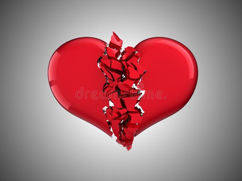 Scheiding en liefde. Gebroken Hart royalty-vrije illustratie