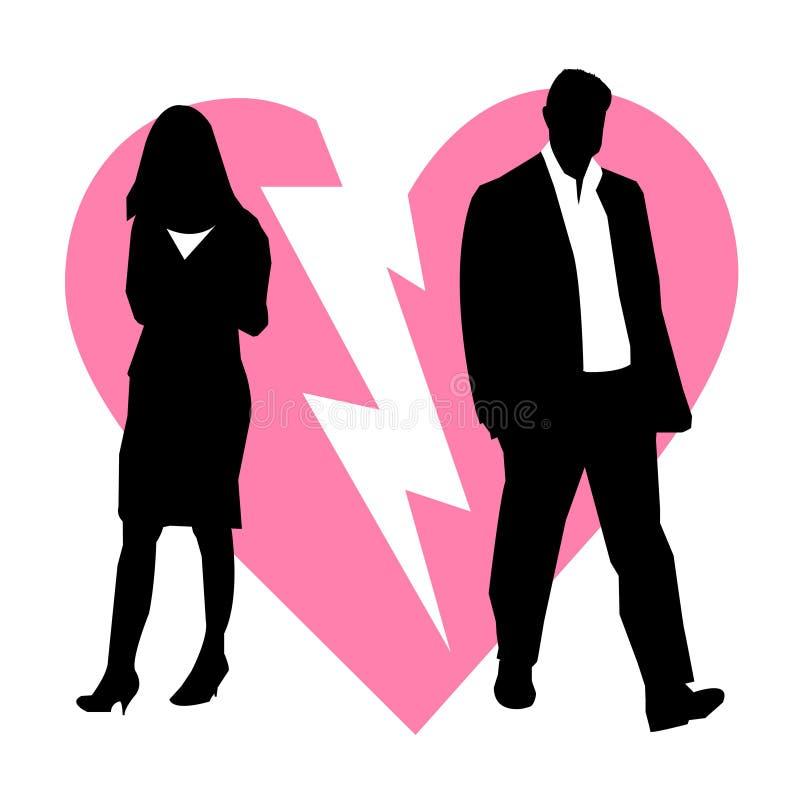 Scheiding gebroken paarachtergrond stock illustratie