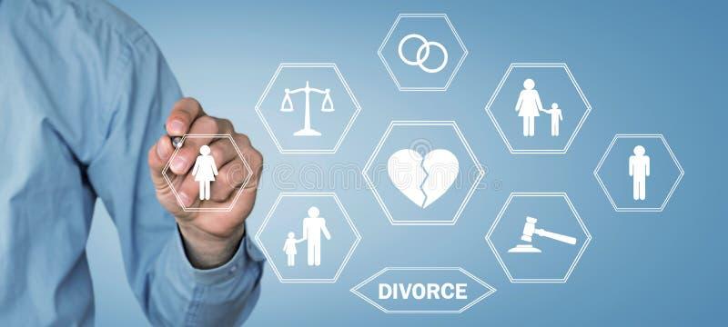 Scheidingsconcept Verdeelde familie Wet en Rechtvaardigheid stock foto