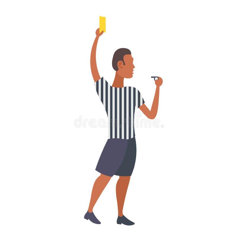 Scheidsrechter die van het mensen de professionele voetbal gele kaart tonen aan Afrikaans Amerikaans de scheidsrechters mannelijk vector illustratie