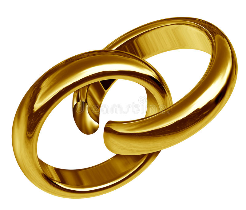 Scheidung, Gebrochene Ringe Stock Abbildung - Illustration