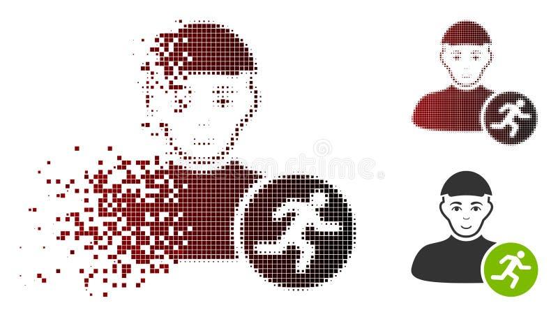 Schein Dot Halftone Running Man Icon mit Gesicht stock abbildung