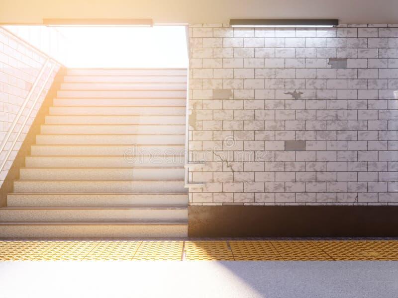 Scheinbare hohe Plakatmedienschablonen-Anzeigenanzeige in der U-Bahnstation Illustration 3D, übertragend lizenzfreie abbildung