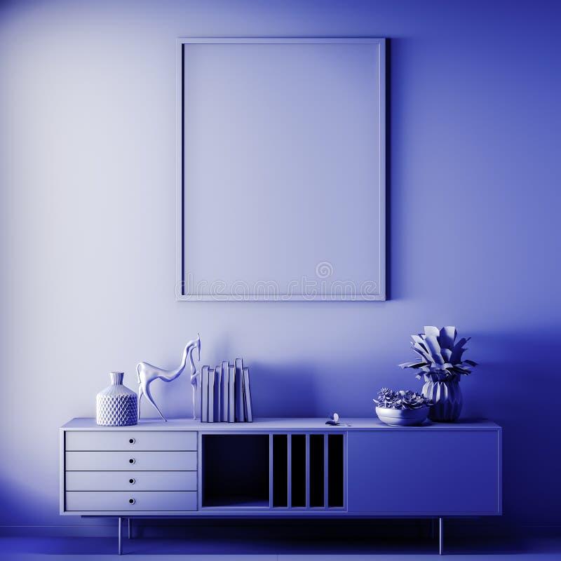 Scheinbarer hoher Plakatrahmen in der Innen-, blauen Farbe, Lehm übertragen, Illustration 3D stockfotos