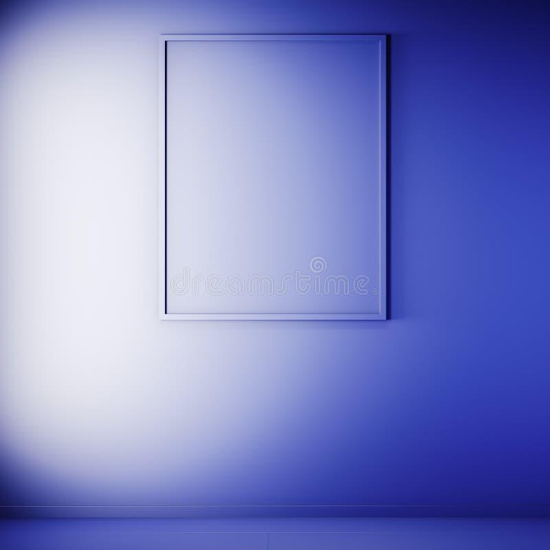 Scheinbarer hoher Plakatrahmen in der Innen-, blauen Farbe, Lehm übertragen, Illustration 3D lizenzfreies stockfoto