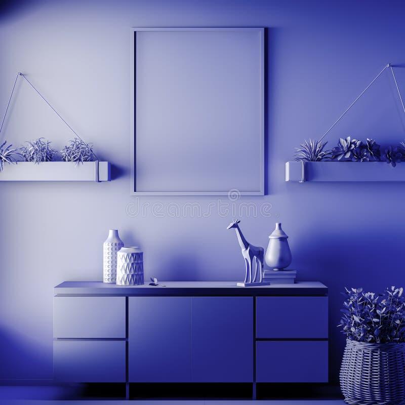 Scheinbarer hoher Plakatrahmen in der Innen-, blauen Farbe, Lehm übertragen, Illustration 3D lizenzfreie stockbilder