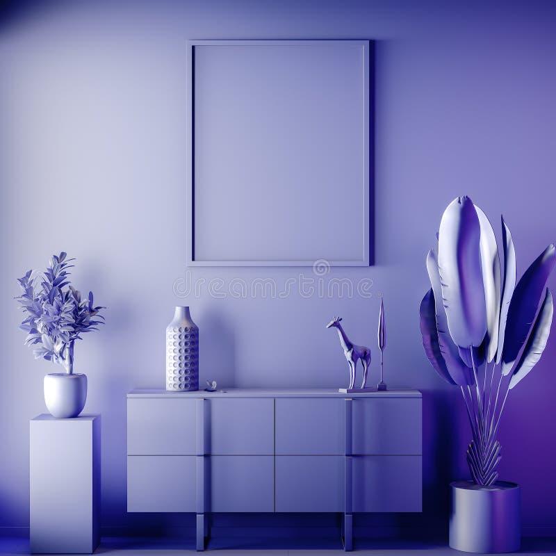 Scheinbarer hoher Plakatrahmen in der Innen-, blauen Farbe, Lehm übertragen, Illustration 3D stockfotografie