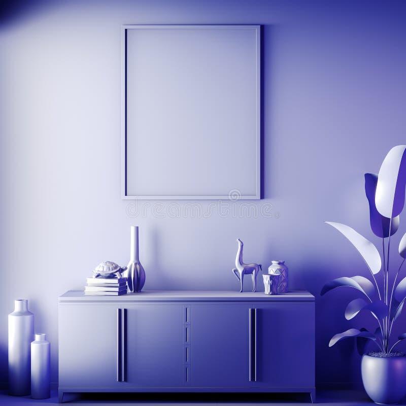 Scheinbarer hoher Plakatrahmen in der Innen-, blauen Farbe, Lehm übertragen, Illustration 3D lizenzfreie stockfotos