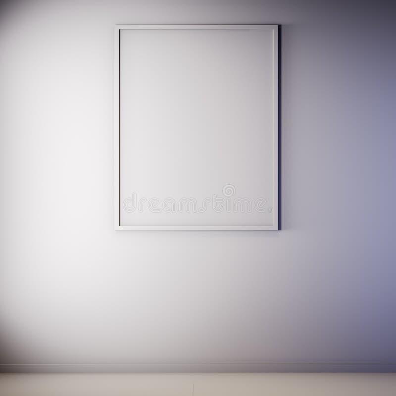 Scheinbarer hoher Plakatrahmen in der Innen-, grauen Farbe, Lehm übertragen, Illustration 3D stockfotografie