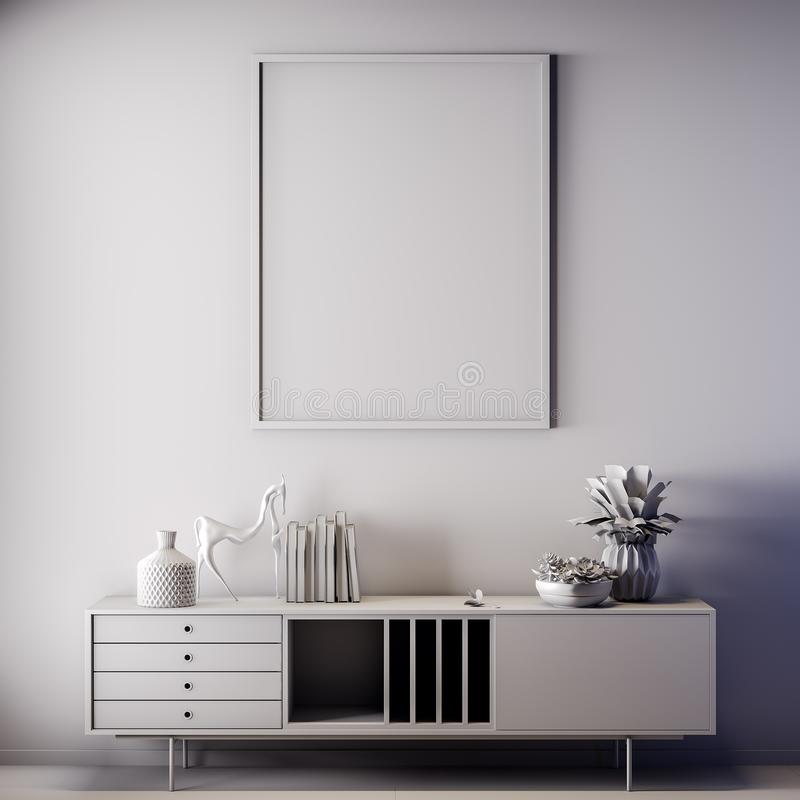 Scheinbarer hoher Plakatrahmen in der Innen-, grauen Farbe, Lehm übertragen, Illustration 3D lizenzfreies stockfoto