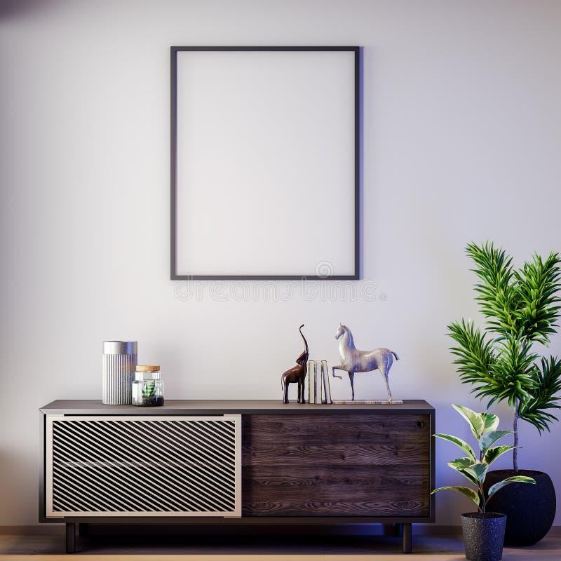 Scheinbarer hoher Plakatrahmen in der Innen-, modernen Art, Illustration 3D stockbild