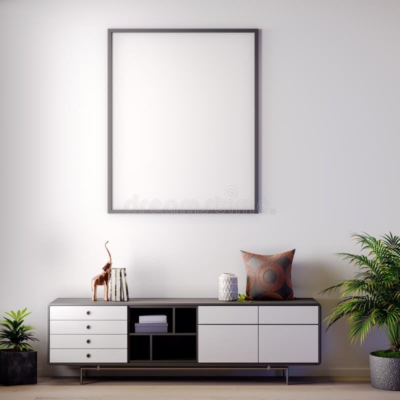 Scheinbarer hoher Plakatrahmen in der Innen-, modernen Art, Illustration 3D lizenzfreie stockfotos