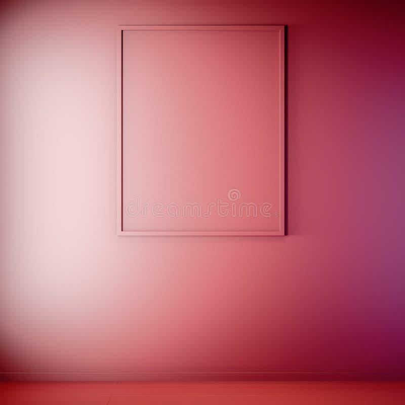 Scheinbarer hoher Plakatrahmen in der Innen-, roten Farbe, Lehm übertragen, Illustration 3D stockbilder