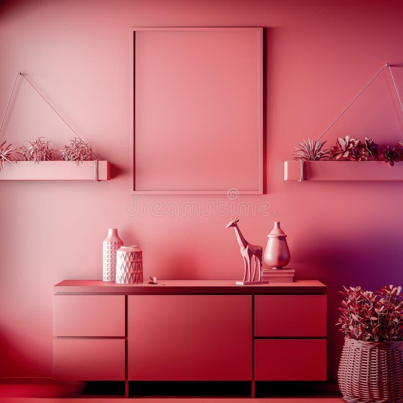 Scheinbarer hoher Plakatrahmen in der Innen-, roten Farbe, Lehm übertragen, Illustration 3D lizenzfreie stockbilder