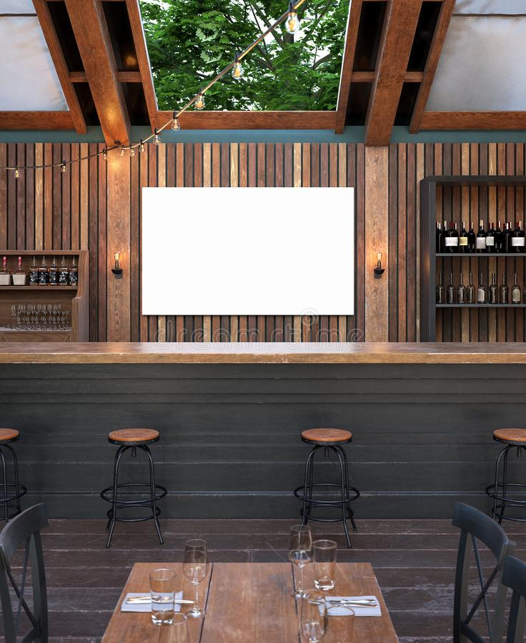 Scheinbarer hoher Plakatrahmen im Caféinnenhintergrund, modernes Barrestaurant im Freien lizenzfreie stockbilder